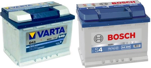 Аккумуляторы (АКБ) Varta и Bosch — наш выбор!